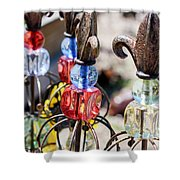 Colorful Glass And Metal Garden Ornaments Shower Curtain