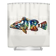 Colorful Grouper 2 Art Fish By Sharon Cummings Shower Curtain