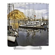Colorful Harbor II Impasto Shower Curtain