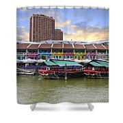 Colorful Historic Houses By River Shower Curtain