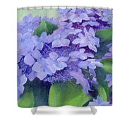 Colorful Hydrangeas Original Purple Floral Art Painting Garden Flower Floral Artist K. Joann Russell Shower Curtain