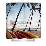 Colorful Kayaks On Beach In The Caribbean Shower Curtain