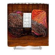 Colorful Knitting Yarn In A Wooden Box Shower Curtain