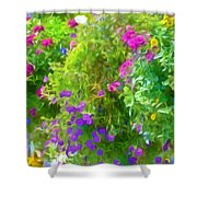 Colorful Large Hanging Flower Plants 3 Shower Curtain