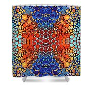 Colorful Layers Vertical - Abstract Art By Sharon Cummings Shower Curtain by Sharon Cummings