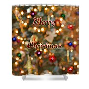 Colorful Lights Christmas Card Shower Curtain