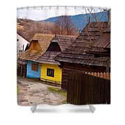 Colorful Log Homes Shower Curtain