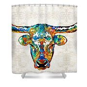 Colorful Longhorn Art By Sharon Cummings Shower Curtain