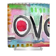 Colorful Love- Painting Shower Curtain by Linda Woods