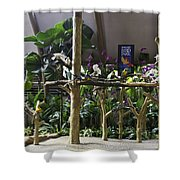 Colorful Macaws And Other Small Birds On Trees At An Exhibit Shower Curtain