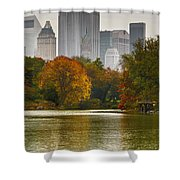 Colorful Magic In Central Park New York City Skyline Shower Curtain by Silvio Ligutti