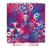 Colorful Metallic Gears Shower Curtain by Gaspar Avila