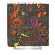 Colorful Musical Notes On Textured Background Illustration Shower Curtain