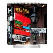 Colorful Neon Sign On Bourbon Street Corner French Quarter New Orleans Fresco Digital Art Shower Curtain