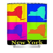 Colorful New York State Pop Art Map Shower Curtain