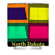 Colorful North Dakota Pop Art Map Shower Curtain