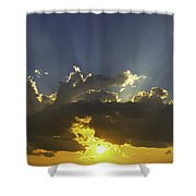 Colorful Orange Yellow Clouds At Sunset Panorama Fine Art Print Shower Curtain