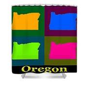 Colorful Oregon Pop Art Map Shower Curtain