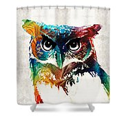 Colorful Owl Art - Wise Guy - By Sharon Cummings Shower Curtain