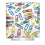 Colorful Paperclips On White Shower Curtain