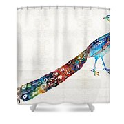 Colorful Peacock Art By Sharon Cummings Shower Curtain