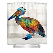 Colorful Pelican Art By Sharon Cummings Shower Curtain
