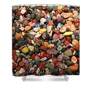 Colorful Polished Stones Shower Curtain