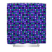 Colorful Polka Dots On Blue Fabric Background Shower Curtain