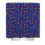 Colorful Polka Dots On Dark Blue Fabric Background Shower Curtain