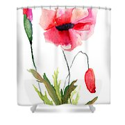 Colorful Poppy Flowers Shower Curtain