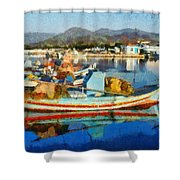 Colorful Boats Shower Curtain