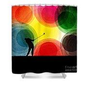 Colorful Retro Silhouette Golfer Shower Curtain