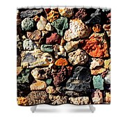 Colorful Rock Wall With Border Shower Curtain