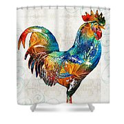 Colorful Rooster Art By Sharon Cummings Shower Curtain