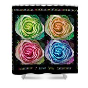 Colorful Rose Spirals With Love Shower Curtain