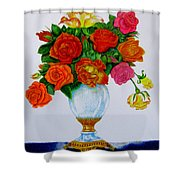 Colorful Roses Shower Curtain by Zina Stromberg