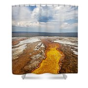 Colorful Runoff From Black Pool Leads To Yellowstone Lake Shower Curtain