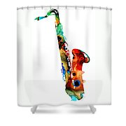 Colorful Saxophone By Sharon Cummings Shower Curtain