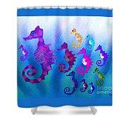 Colorful Sea Horses Shower Curtain