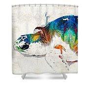 Colorful Sea Turtle By Sharon Cummings Shower Curtain