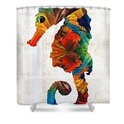 Colorful Seahorse Art By Sharon Cummings Shower Curtain