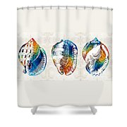 Colorful Seashell Art - Beach Trio - By Sharon Cummings Shower Curtain
