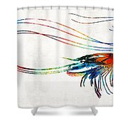 Colorful Shrimp Art By Sharon Cummings Shower Curtain