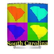 Colorful South Carolina Pop Art Map Shower Curtain