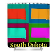 Colorful South Dakota Pop Art Map Shower Curtain
