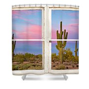 Colorful Southwest Desert Window Art View Shower Curtain