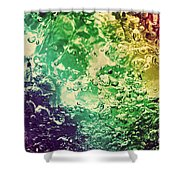 Colorful Splashing Pouring Water With Bubbles Shower Curtain
