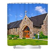Colorful Stone Catholic Church In North Bay Of Lake Nipissing-on Shower Curtain