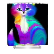 Colorful Striped Rainbow Cat Shower Curtain