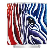 Colorful Stripes Original Zebra Painting By Madart Shower Curtain